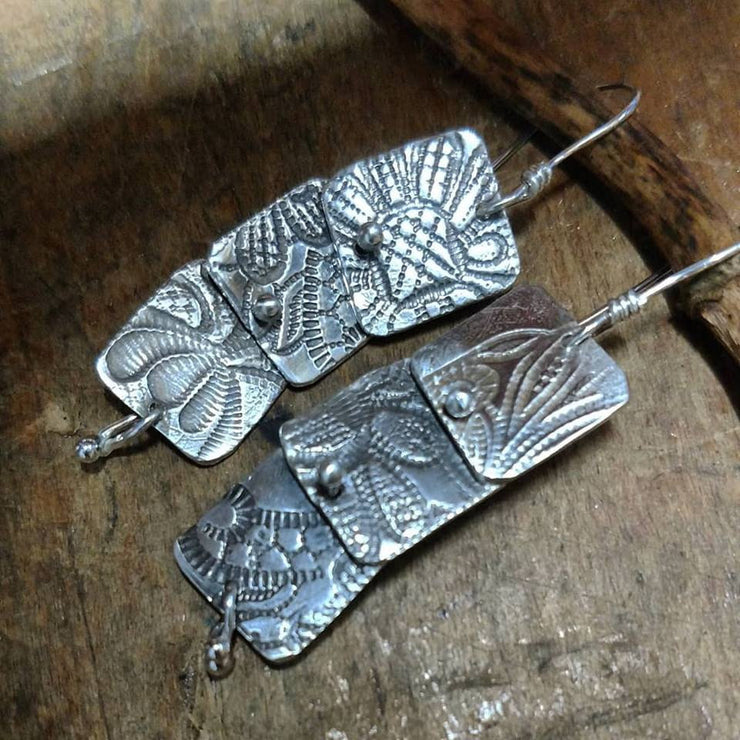 FLORA EARRING - Sterling Silver Kinetic Leaf Earrings - Art In Motion Jewelry & Metal Studio