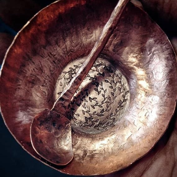 Copper Bowl & Spoon - Art In Motion Jewelry & Metal Studio