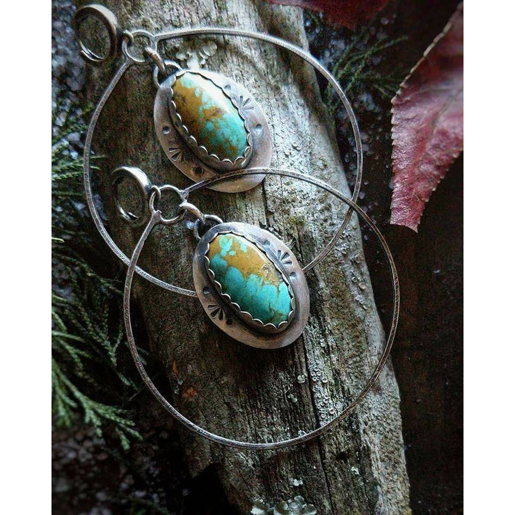 SOUTHWEST - Hoop Earring with Royston Turquoise - Art In Motion Jewelry & Metal Studio