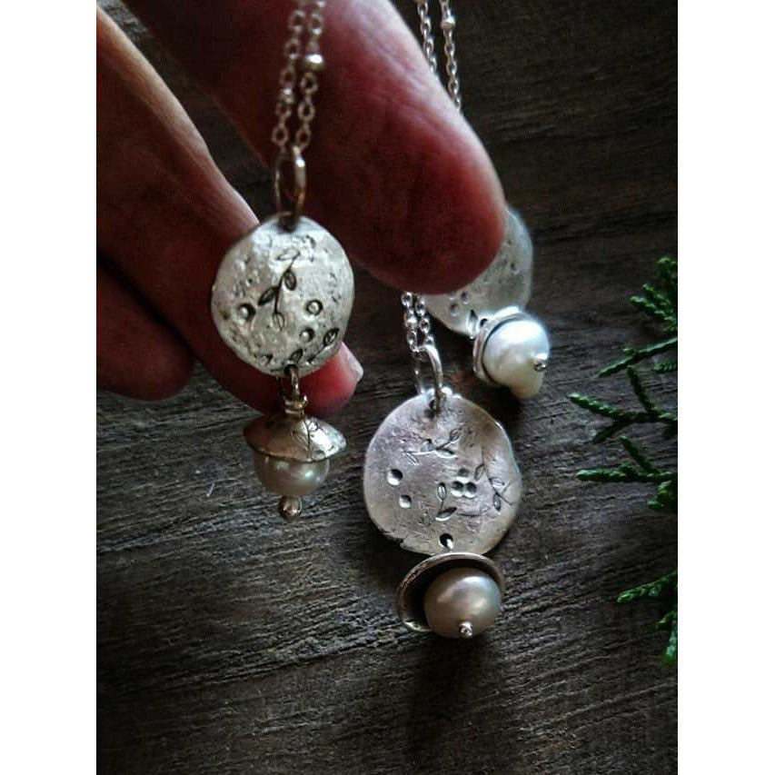 Rustic Charm Necklace, Pearl Necklace-Art In Motion Jewelry & Metal Studio