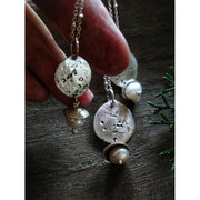 WINTERBERRY - Rustic Charm Necklace, Pearl Necklace - Art In Motion Jewelry & Metal Studio