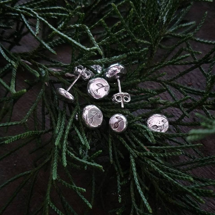 Winterberry Stud Earrings - Stamped Sterling Silver Earrings-Art In Motion Jewelry & Metal Studio