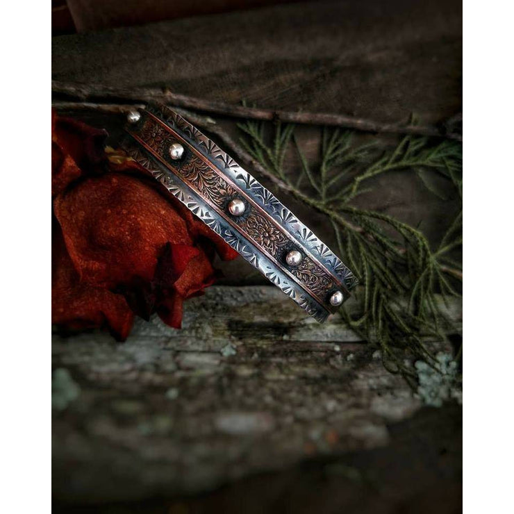 WARRIOR: Copper & Sterling Silver Bracelet-Art In Motion Jewelry & Metal Studio