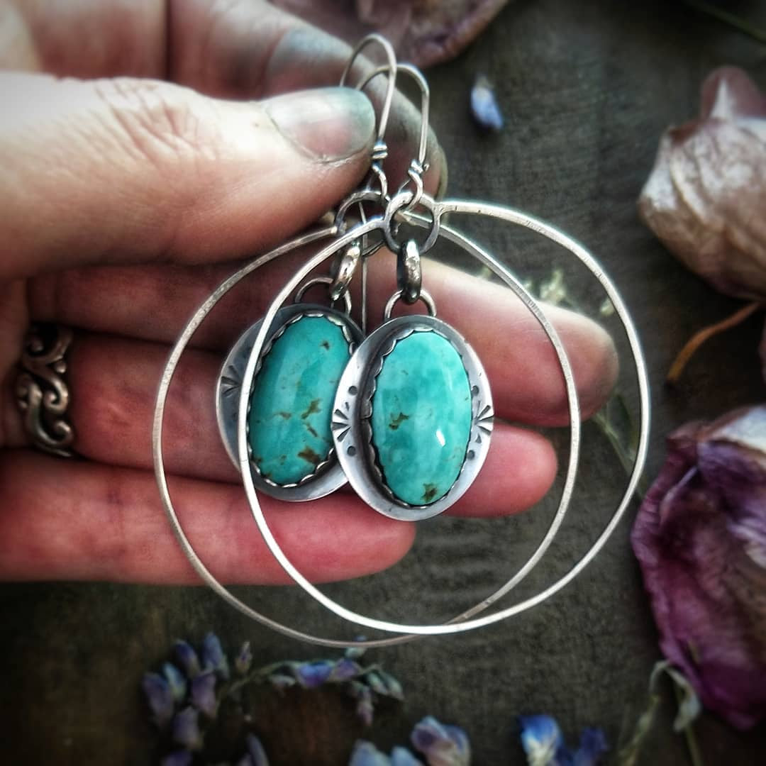 SOUTHWEST - Hoop Earring with Royston Turquoise-Art In Motion Jewelry & Metal Studio