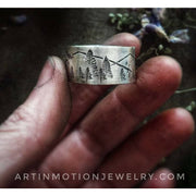 MOUNTAIN SCENE - INTO THE FOREST  Sterling silver wide band ring - Art In Motion Jewelry & Metal Studio