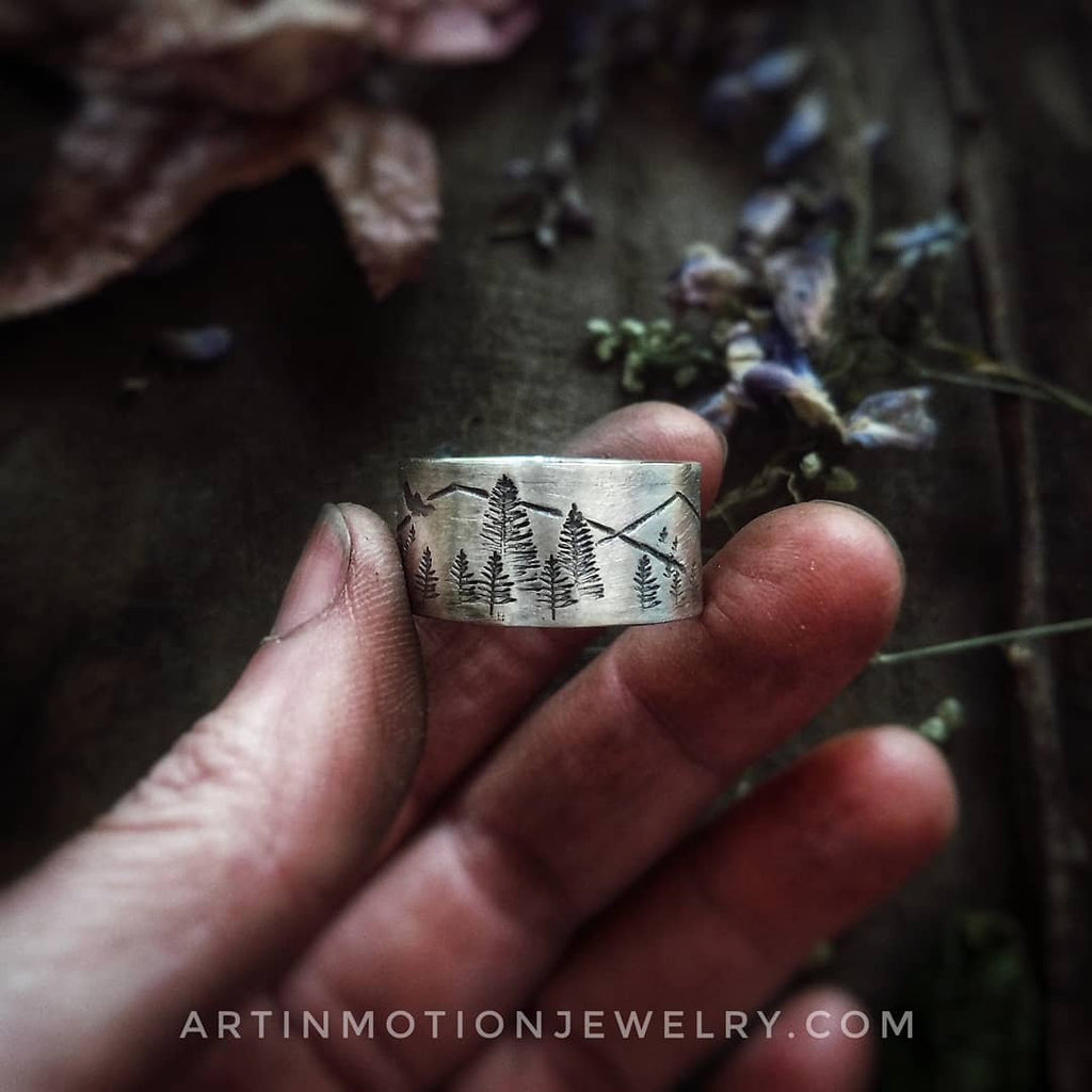 INTO THE FOREST • Sterling silver wide band ring-Art In Motion Jewelry & Metal Studio