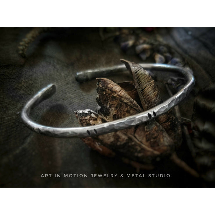 RUSTIC MAN: Men's Solid Sterling Silver Textured Cuff - Art In Motion Jewelry & Metal Studio