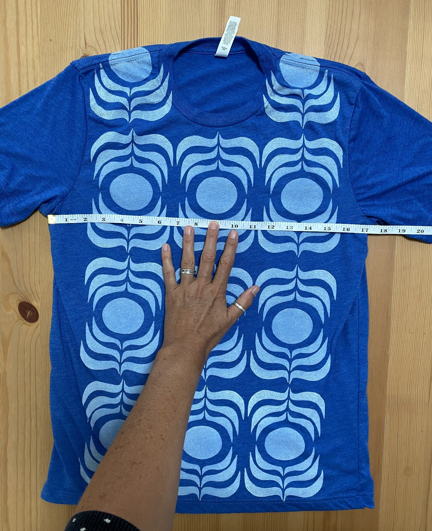 royal blue/white ink t-shirt  (adult size M)