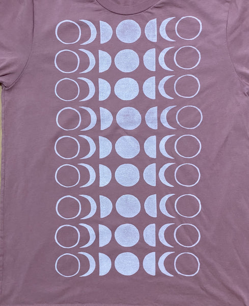 dusty rose/white ink t-shirt MOON (adult size M)