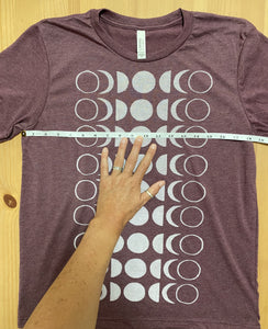dusty maroon/white ink t-shirt MOON (adult size M)