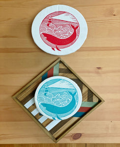 Cloth Dish Covers - Whale Song