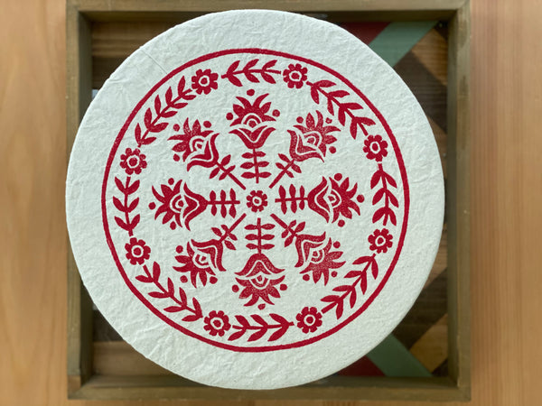 Cloth Dish Covers - Floral Folk (small red)