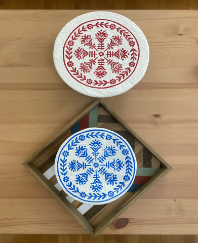 Cloth Dish Covers - Floral Folk (small blue)