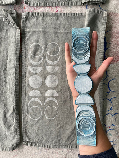 Linen Cloth Napkins - (Grey) Moon Phase
