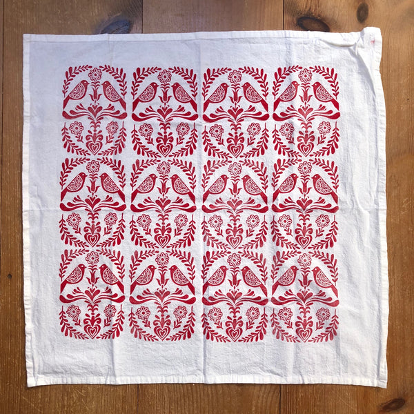 Tea Towel - Folk Art (red)