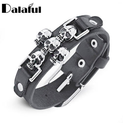 Skeleton Skull Leather Bracelet