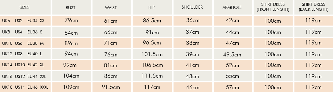Adam's Size Guide