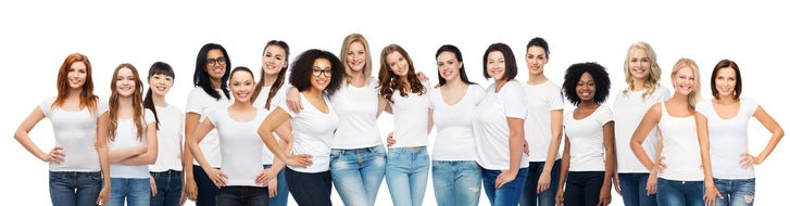 Group of diverse women. Pretty in various shapes,ages,colors. Adobe stock photo.