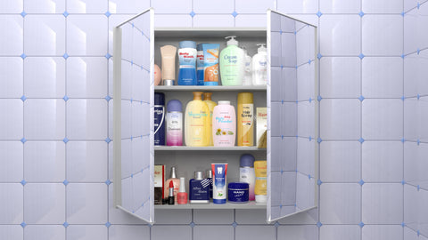Medicine cabinet full of products