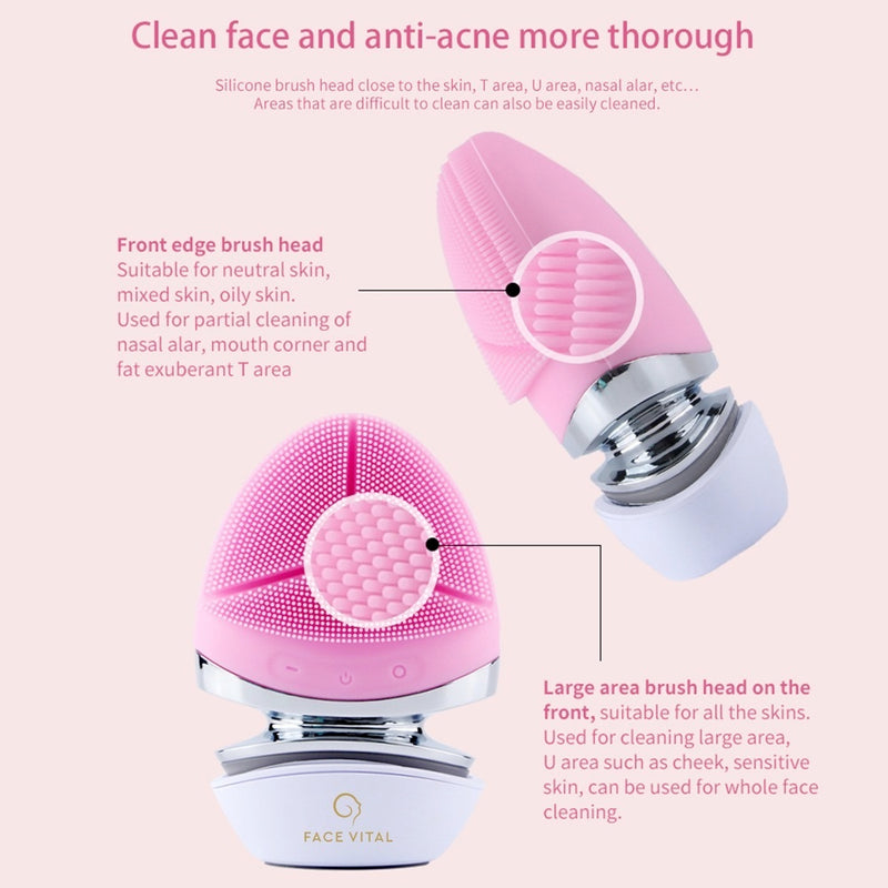 FACE VITAL EMS Micro-current Silicone Facial Brush with Heat Function