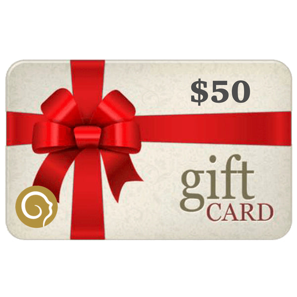 Gift Card with a large red bow for 50$