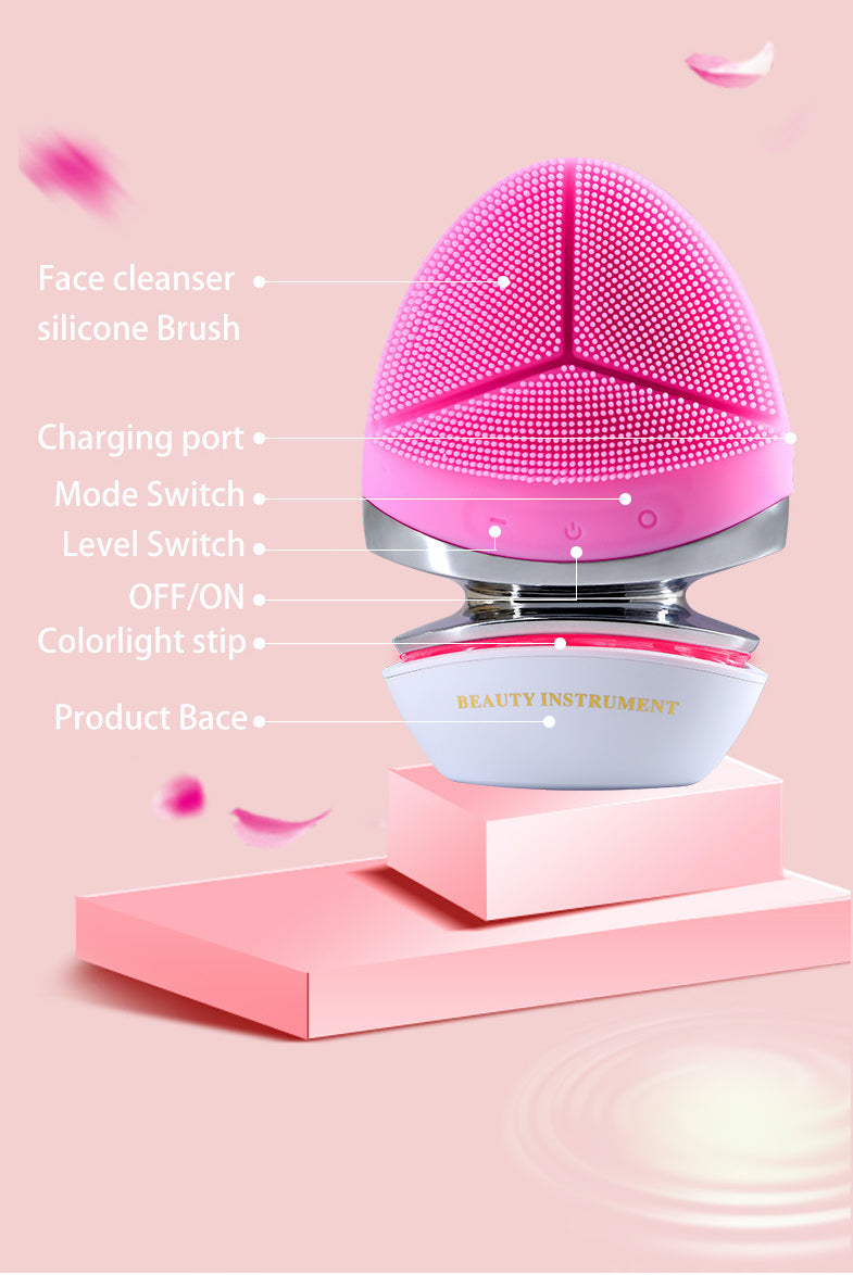 EMS Microcurrent Silicone Facial Brush with Heat Function - Powerful Ultrasonic Cleansing On The Go