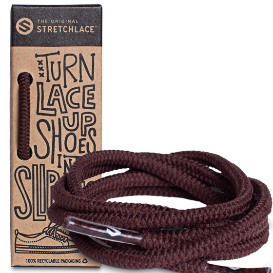 Dark Brown Round Elastic Stretch Shoe Laces