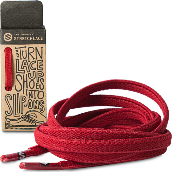 Red Flat Elastic Stretch Shoe Laces
