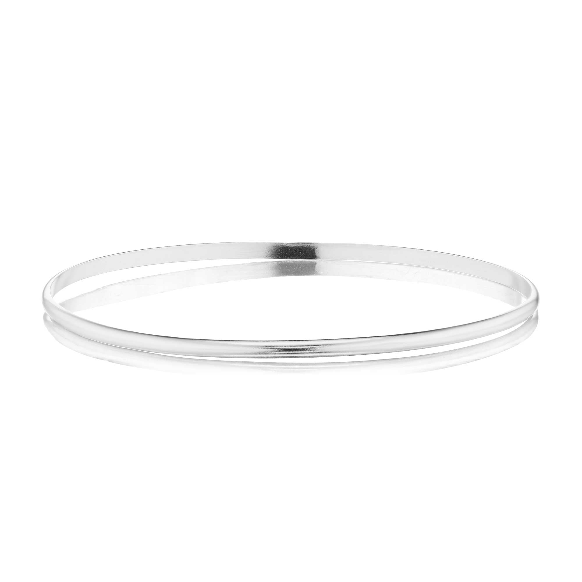 The Silver Slim Half Round Bangle