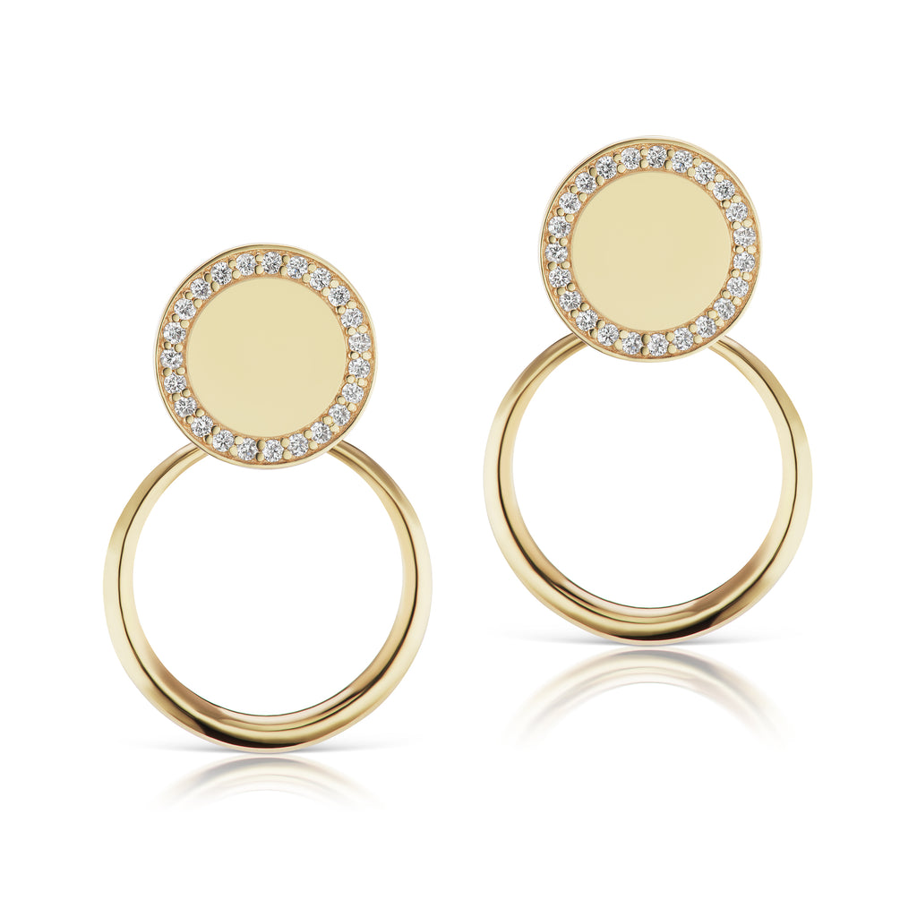 The Gold Petite Pave Doorknocker Earrings