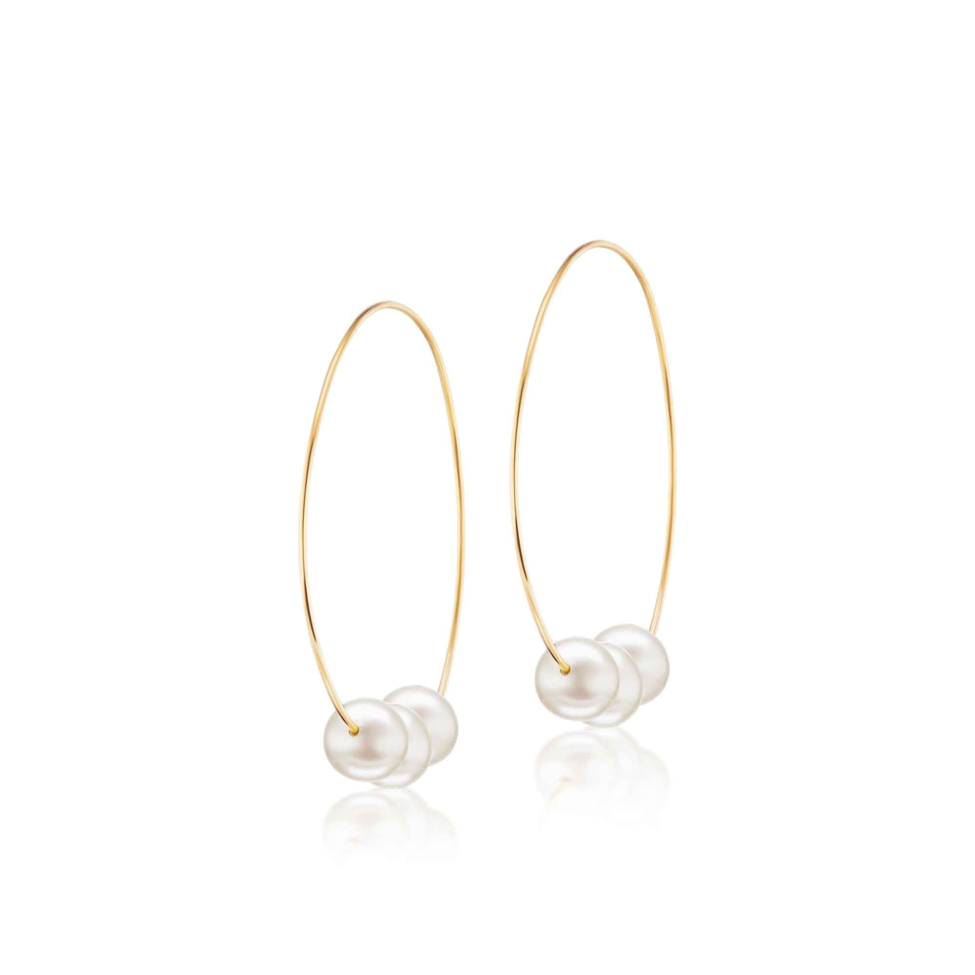 The Medium Floating Pearl Earring