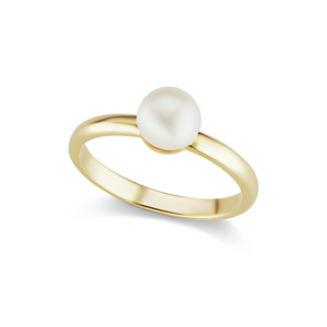 The Gold Single Pearl Ring