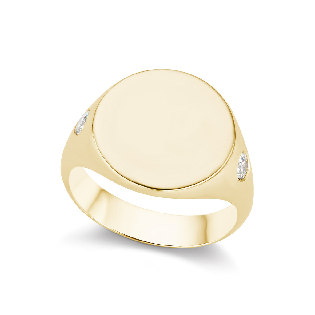 The Gold Diamond Signet Ring