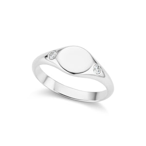 The Silver Petite Diamond Signet Ring