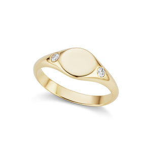 The Gold Petite Diamond Signet Ring