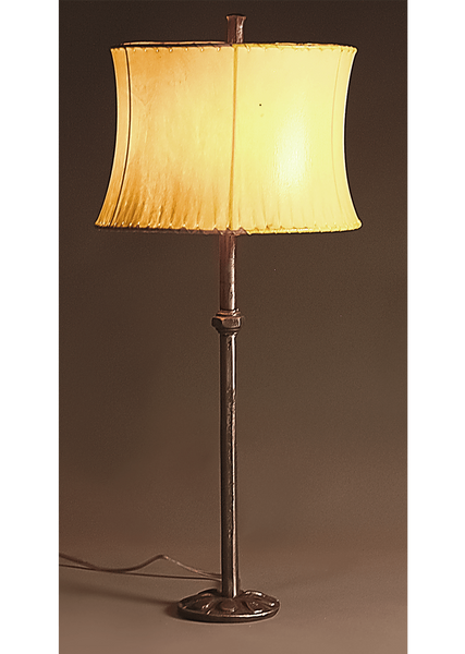 Hand forged wrought iron Etruscan Lamp with a Contemporary Sheepskin Shade