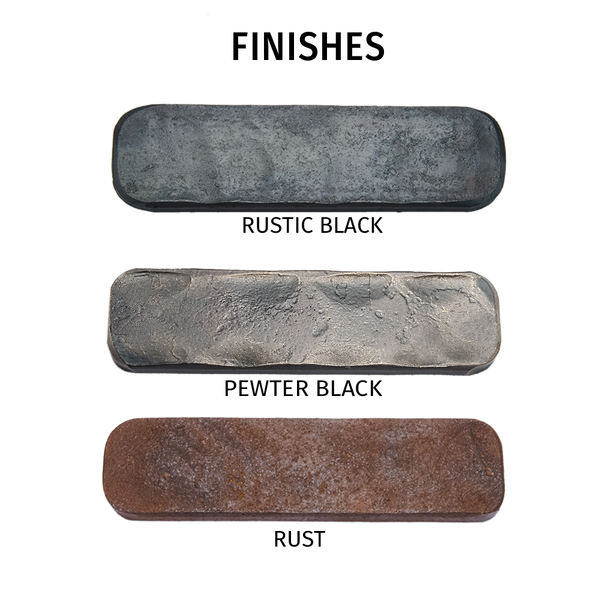 Metal swatch samples of available finishes for the Snake End Table by Christopher Thomson Ironworks.