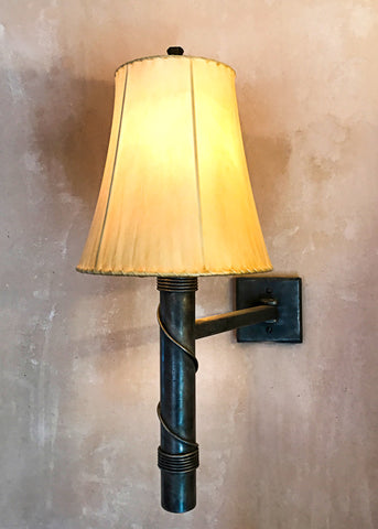Hinged Torch Wall Sconce with Empire Sheepskin Shade