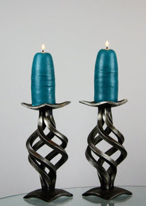 wide base hand forged candlestick holders  made with a spiral design
