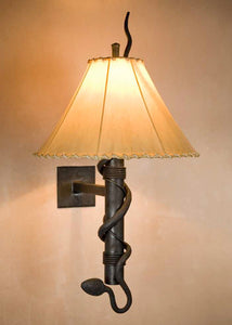 Torch Wall Sconce with Snake w/ Empire Sheepskin Shade