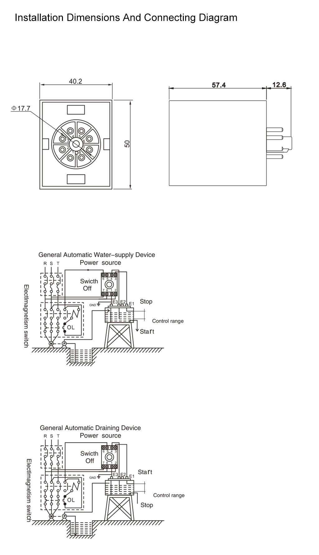 Floatless Relay-LAF Installation Dimensions and Connecting Diagram