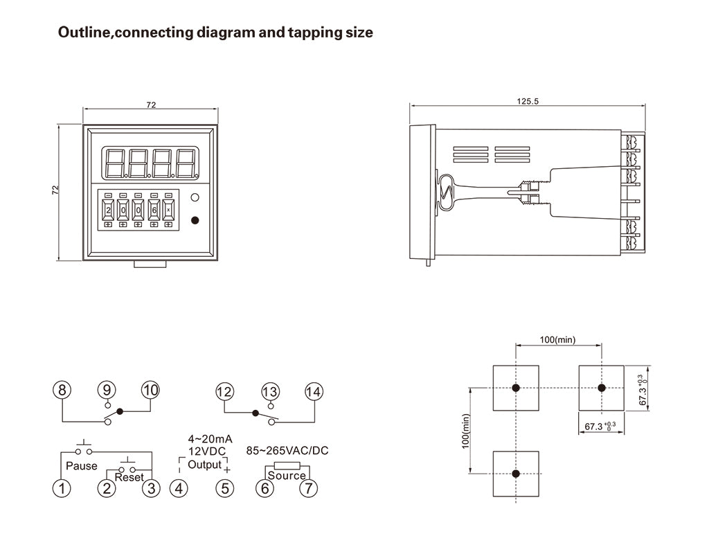 LD72S_Installation_Dimensions_and_Connection_Diagram
