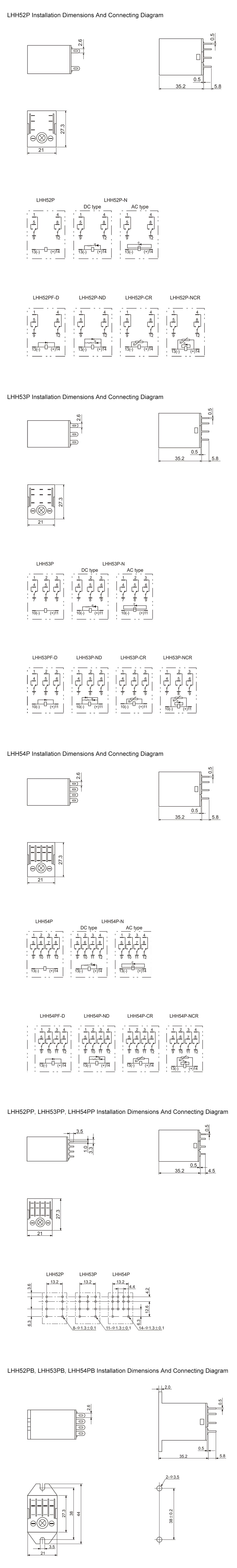 LHH Series Installation Dimension and Connecting Diagram