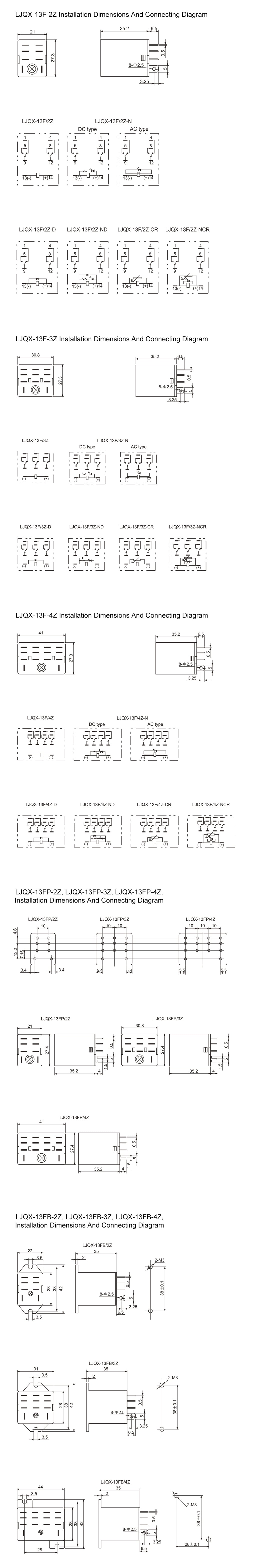 LJQX-13F Series Installation Dimension and Connecting Diagram