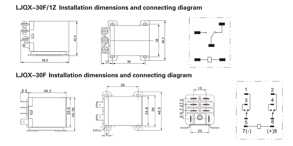 LJQX-30F Installation Dimensions and Connection Diagram
