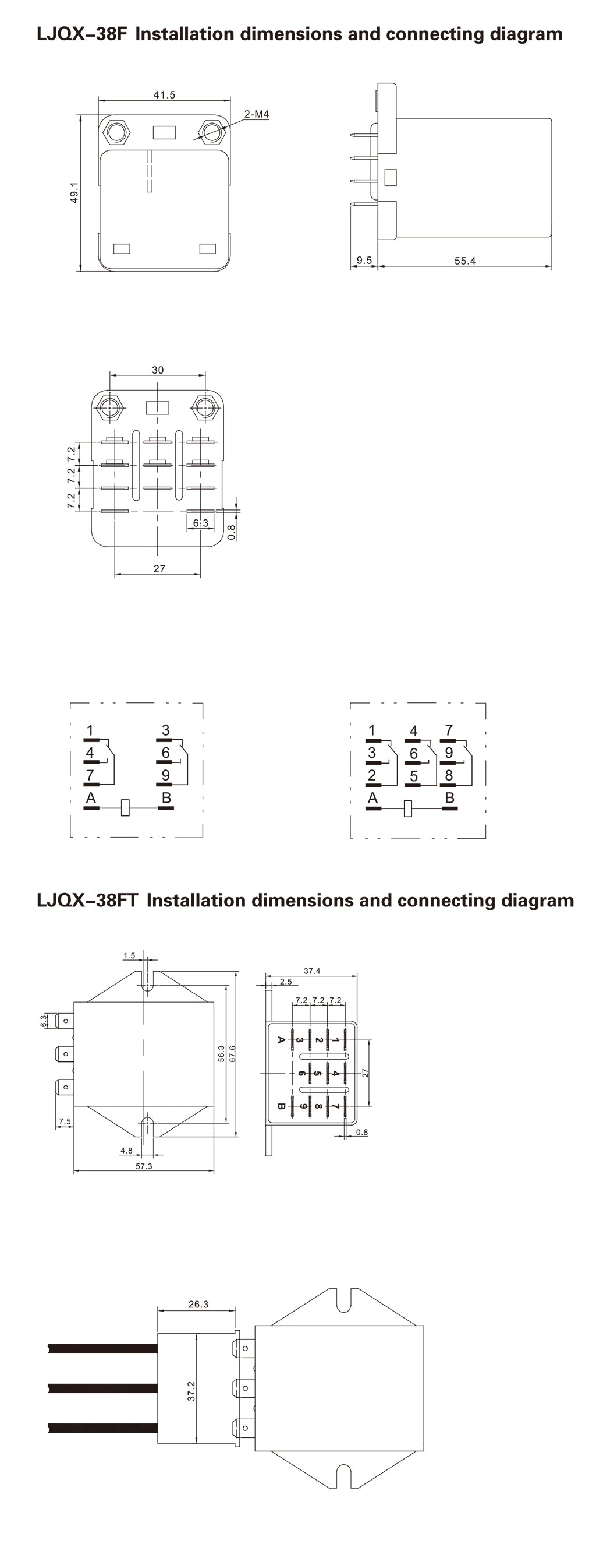 LJQX-38F Installation Dimensions and Connection Diagram