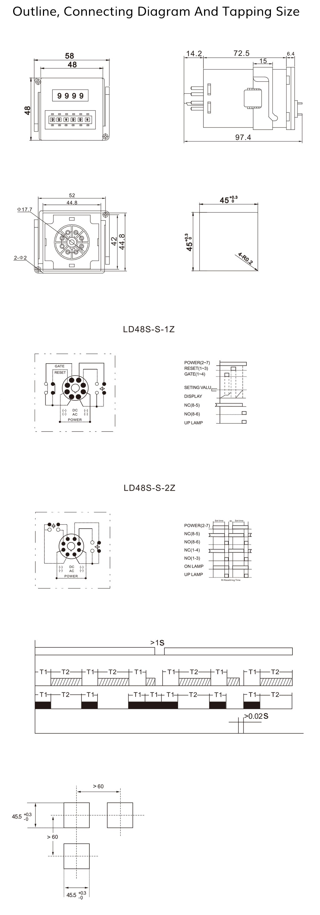 Outline, Connecting Diagram And Tapping Size-LD48S-S