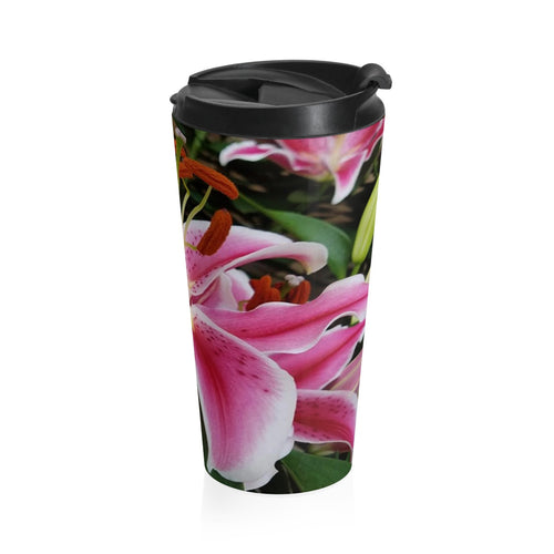 Positives.Biz ~ Ravishing Lily ~ Stainless Steel Travel Mug
