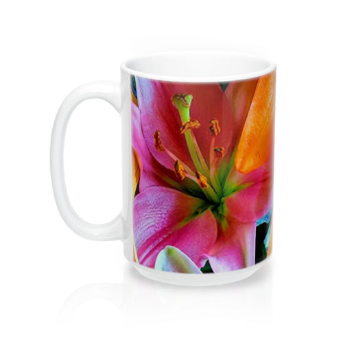 Positives.Biz ~ Multi-Colored Lilies ~ Floral Mug ~ 15oz