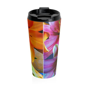Positives.Biz ~ Multi-Colored Lilies ~ Stainless Steel Travel Mug